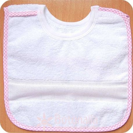 Stitcheable Bib for 6 months baby - With velcro - Gingham border in pink