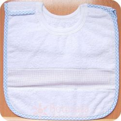 Stitcheable Bib for 6 months baby - With velcro - Gingham border in blue