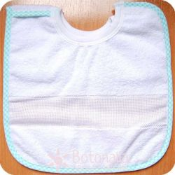 Stitcheable Bib for 6 months baby - With velcro - Gingham border in green