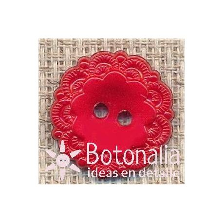Red button with decorated edge 18 mm