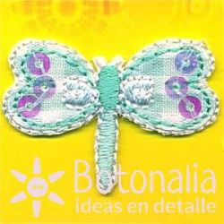 Dragonfly in green gingham