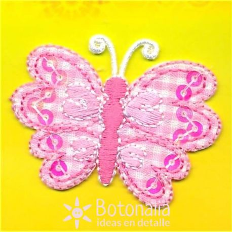 Butterfly in pink gingham