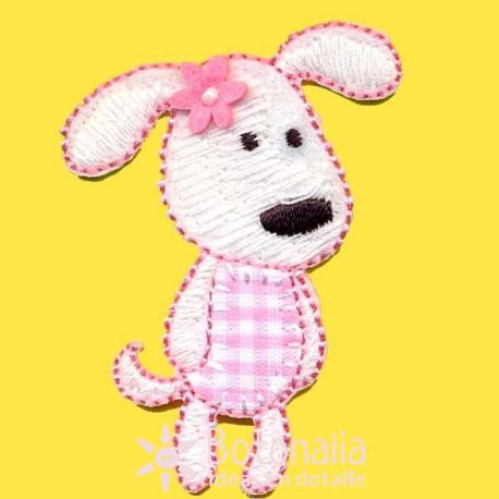 Little dog in pink gingham