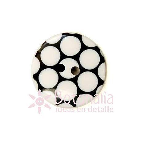 Botón negro con lunares blancos 18 mm.
