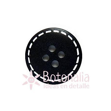 Circular negro con pespunteado blanco 20 mm