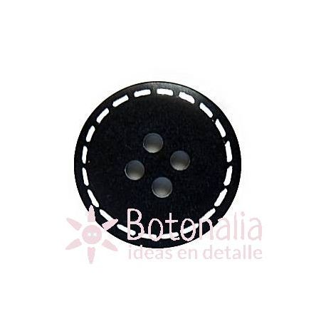 Classic round button in black with a decorated stitch design in white 20 mm