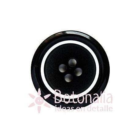 Classic round button in black with a smooth edge in white 23 mm