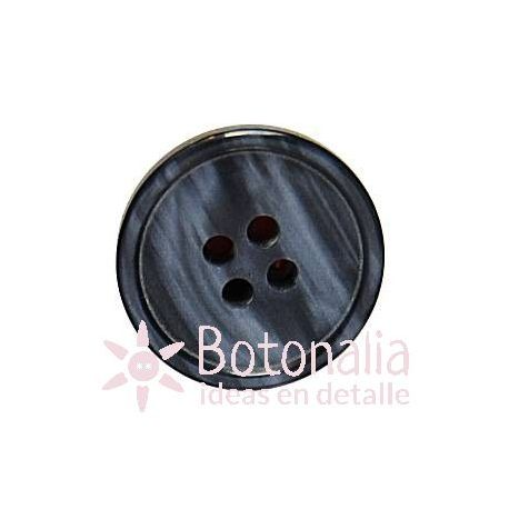Button with straight plastic streaks in shades of grey.