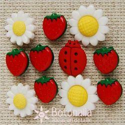 Flores, fresas y bichos