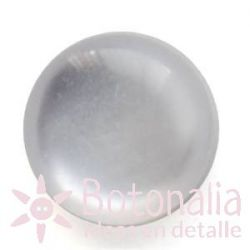Polished cabochon with shank in light blue