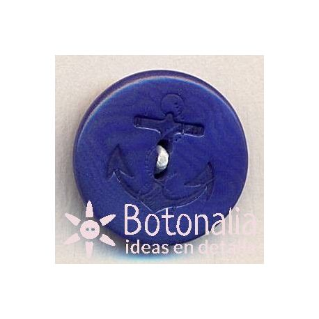 Round classic button in navy blue with an anchor 17 mm