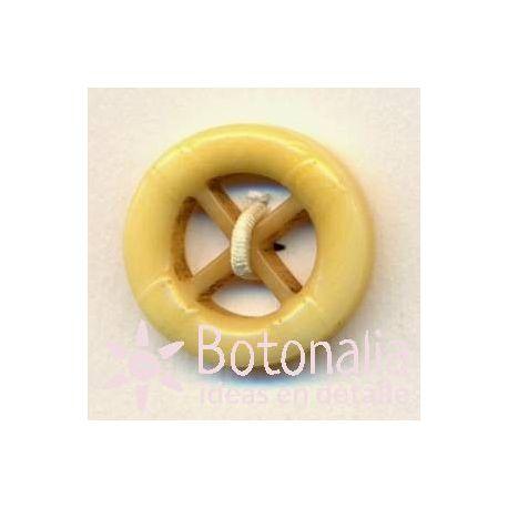 Nautical steering wheel in yellow 15 mm
