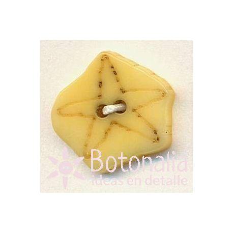 Pentagonal con estrella tallada 17 mm