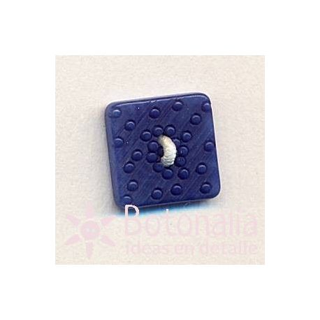 Square button with a carved design in blue 14 mm