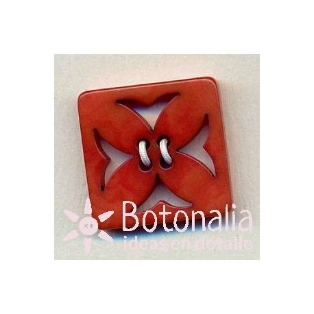 Square button with decorative carving