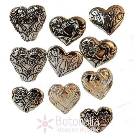 Dress-it-Up - Assorted silver hearts