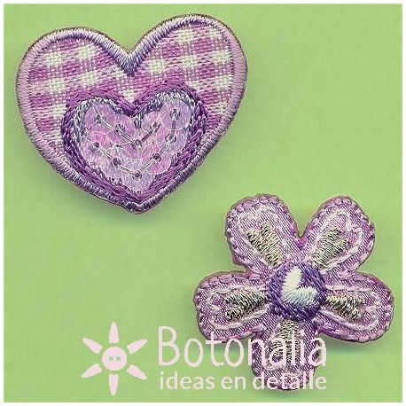 Heart and a flower with a gingham design in purple.
