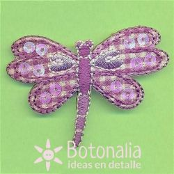 Dragonfly with a gingham design in purple