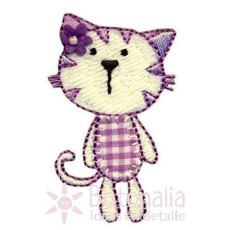 Kitty with a gingham design in purple