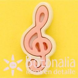 Treble clef in pink and white