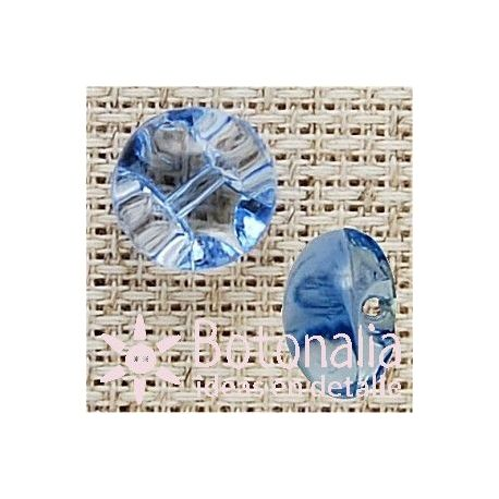 Transparent shank button for blouse in blue