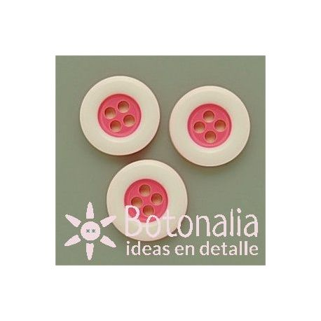 Round classic button in pink with white edge
