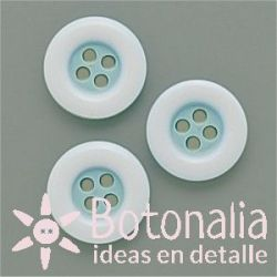 Round classic button in blue with white edge