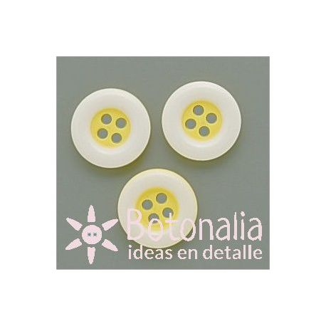 Round classic button in yellow with white edge