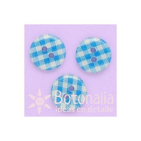 Cuadros Vichy azul claro 13 mm