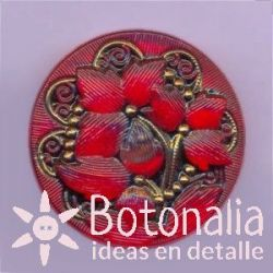 Glass button in red 27 mm