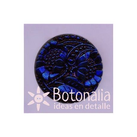Glass button in blue 27 mm