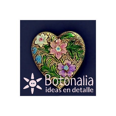 Botón corazón floral