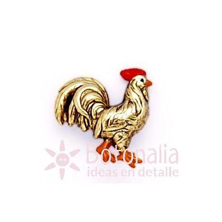 Botón gallo dorado