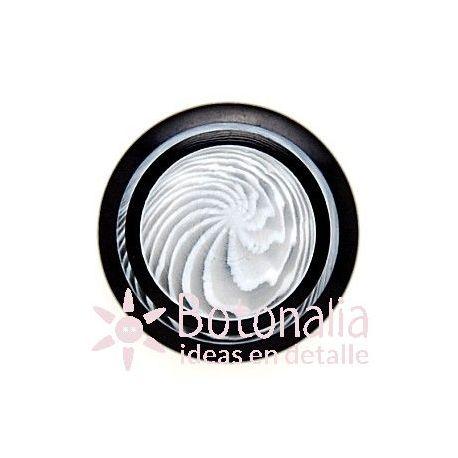 Botón circular negro decorado 30 mm
