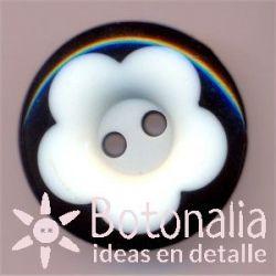 Botón circular negro con flor blanca 20 mm