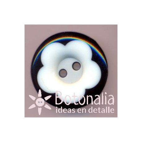Classic round button in black with flower in white 20 mm