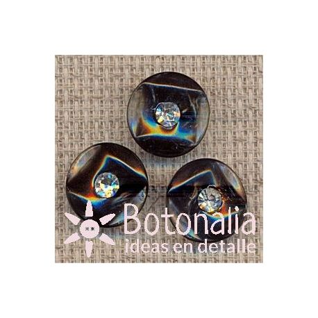 Classic round button with crystal 15 mm