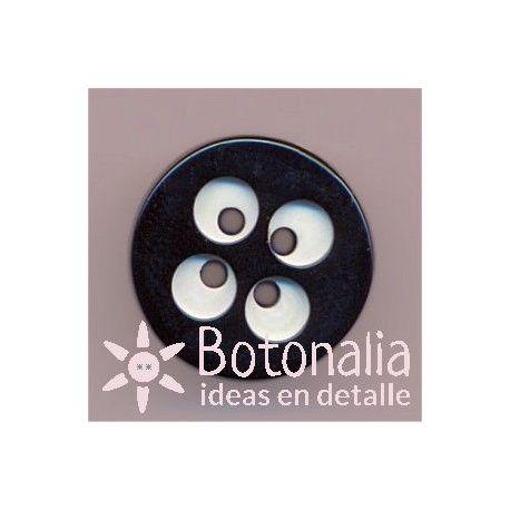 Botón circular con detalles blancos 15 mm