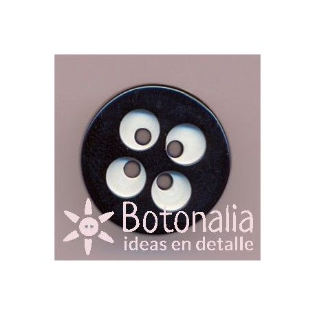 Classic round black button with details in white 15 mm