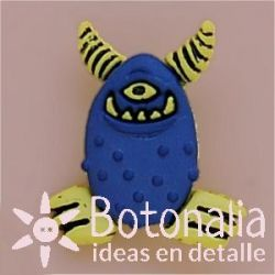 Monster in blue with horns in yellow