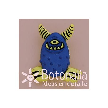 Monstruo azul con cuernos amarillos