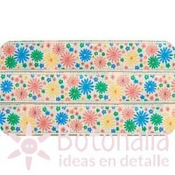Ribbon with flowers in many colors 15 mm
