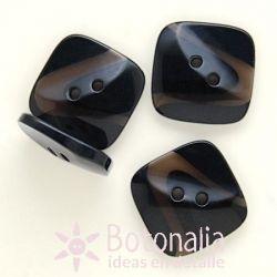 Black square button 25 mm