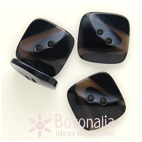 Black square button 25 mm