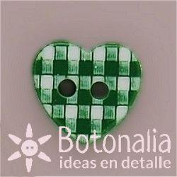 Corazón verde cuadros 11 mm