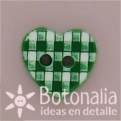 Green gingham heart 11 mm