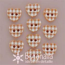 10 corazones naranja cuadros 11 mm