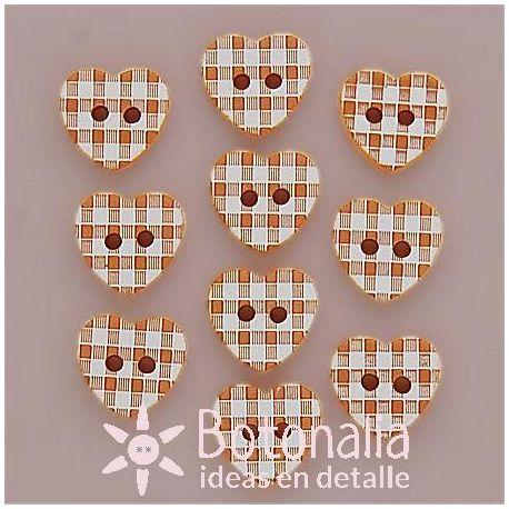 10 Orange gingham hearts 11 mm