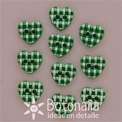 10 Green gingham hearts 11 mm