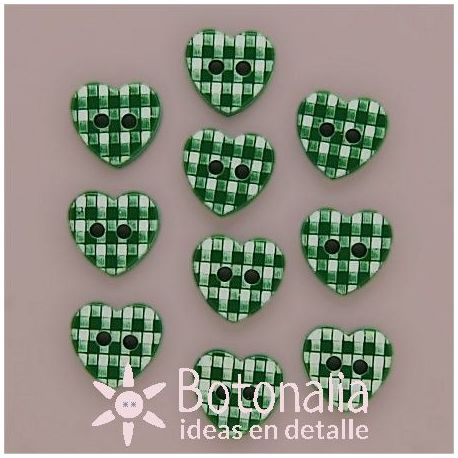 10 corazones verdes cuadros 11 mm